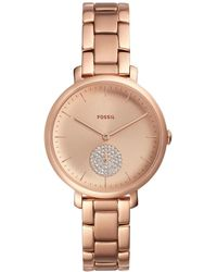 Fossil - Jacqueline Three-hand Rose Gold-tone Stainless Steel Watch - Lyst