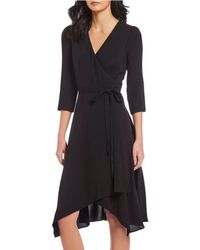 e104d73b41 Adrianna Papell - Crepe Tie Front Wrap Dress - Lyst