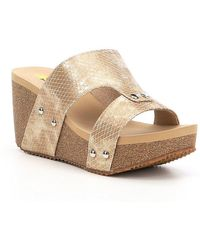 Volatile - Cassia Snake Embossed Wedge Slide Sandals - Lyst