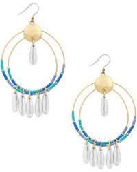 Lucky Brand - Two-tone Colored Bead Double-hoop Drop Earrings - Lyst