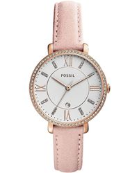 Fossil - Jacqueline Three-hand Date Blush Leather Strap Watch - Lyst