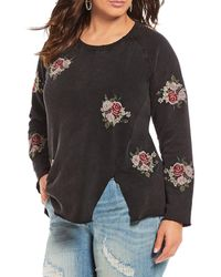 Lucky Brand - Floral Embroidered Sweatshirt - Lyst