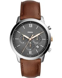 Fossil - Neutra Chronograph Light Brown Leather Watch - Lyst
