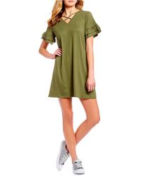 As U Wish - X-front Ruffle Short Sleeve Swing Dress - Lyst