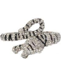 Betsey Johnson - Hematite-tone Enamel & Crystal Tiger Hinged Bangle Bracelet - Lyst