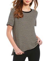 Eileen Fisher - Round Neck Short Sleeve Stripe Top - Lyst