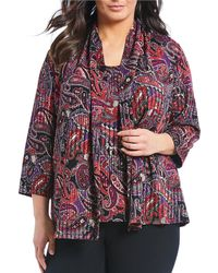 Kasper - Plus Size Textured Knit Paisley Print Open Front Cardigan - Lyst