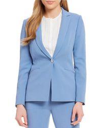 Tahari - Pebble Crepe Button Jacket Pant Suit - Lyst