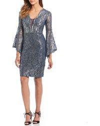 Marina - Bell Sleeve Lace Sheath Dress - Lyst