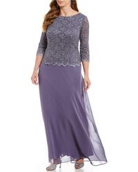 Alex Evenings - Plus Size Mock 2-piece Lace Chiffon Gown - Lyst