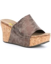 Volatile - Scholar Faux Leather One Band Cork Wedge Slides - Lyst