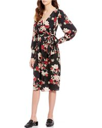 7bfc65f220 On sale Chelsea   Violet - Floral Printed Jacquard Wrap Style Midi Dress -  Lyst