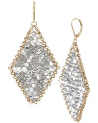 Kenneth Cole - Woven Crystal Faceted Bead Kite Drop Earrings - Lyst