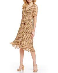fb6e6926fef Donna Morgan - Printed Ruffle Midi Length Wrap Dress - Lyst