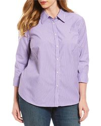 Lauren by Ralph Lauren - Plus Size Cotton Button-down Shirt - Lyst