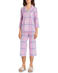 4684fcdc99f Lauren by Ralph Lauren - Plaid-print Woven Capri Pajama Set - Lyst