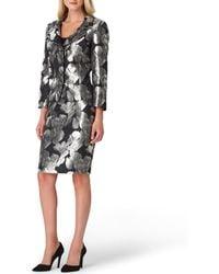 Tahari - Petite Size Floral Metallic Jacquard Notch Collar Jacket 2-piece Skirt Suit - Lyst