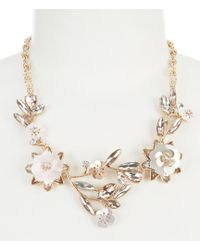 Belle By Badgley Mischka | Glitzy Flower Frontal Statement Necklace | Lyst