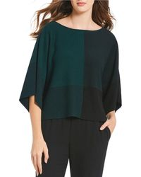 Eileen Fisher - Bateau Neck 3/4 Sleeve Patchwork Top - Lyst