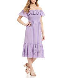 Sugarlips - Betsy Off-the-shoulder Eyelet Flounce Hem Midi Dress - Lyst