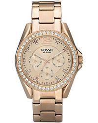 c1af86957 Fossil - Riley Rose Gold Boyfriend Multifunction Watch - Lyst