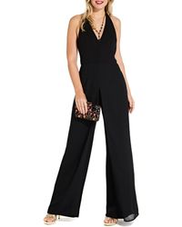 491cde108802 Adrianna Papell Stretch Crepe Square Neck Jumpsuit in Black - Lyst