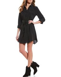 Blu Pepper - Button Front Shirt Dress - Lyst