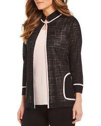 Misook - Mandarin Collar Sheer Jacket - Lyst