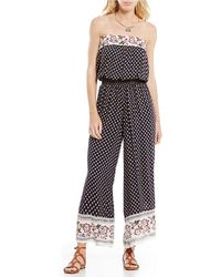 Chelsea & Violet - Strapless Printed Jumpsuit - Lyst