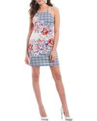 0c286f6e33d Guess - Halter Neck Plaid Floral Print Scuba Sheath Dress - Lyst
