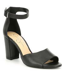 00fd722d95772 Jessica Simpson - Sherron Leather Ankle Strap Block Heel Sandals - Lyst