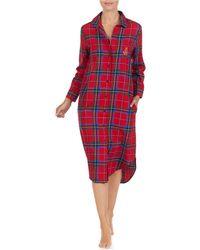Lauren by Ralph Lauren - His Shirt Petite Plaid-print Flannel Maxi  Sleepshirt - Lyst 35ce90a13