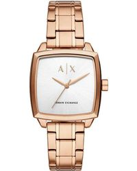 Armani Exchange - Women's Rose Gold-tone Square Bracelet Watch - Lyst