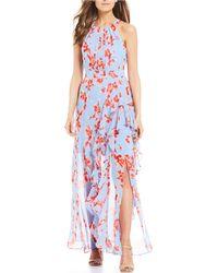 4d28ea66 Eliza J Floral Ruffle High/low Maxi Dress in Blue - Lyst