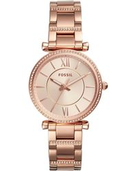 Fossil - Women's Carlie Rose Gold-tone Stainless Steel Bracelet Watch 35mm - Lyst