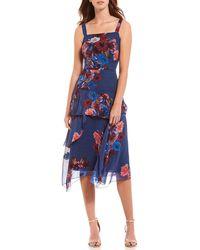 Nicole Miller - Floral Print Bouquet Asymmetrical A-line Dress - Lyst
