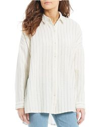 6cbae0d856a0ad Eileen Fisher Collared Button-down Shirt in White - Lyst