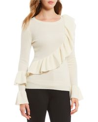 Antonio Melani - Luxury Collection Adrienne Cashmere Ruffle Bell Sleeve Sweater - Lyst