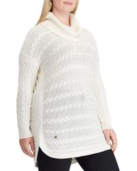 Lauren by Ralph Lauren - Plus Size Cable Knit Turtleneck Sweater - Lyst