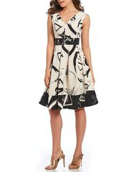 Donna Karan - New York V-neck Printed Fit And Flare Dress - Lyst
