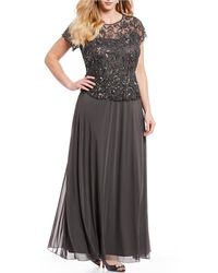 cb50ea7e198 Pisarro Nights Plus Size Floral Beaded Mock 2-piece Gown in Gray - Lyst