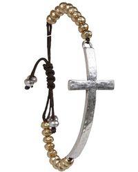 Lucky Brand - Two-tone Cross Beaded Bracelet - Lyst