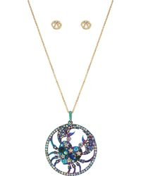 Betsey Johnson - Cancer Zodiac Necklace And Earrings Set - Lyst