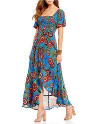 Band Of Gypsies - Heirloom Floral Print Midi Floral Dress - Lyst