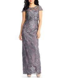 Adrianna Papell - Pop Over Embroidered Metallic Lace Gown - Lyst