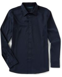 Perry Ellis - Slim-fit Solid Stretch Long-sleeve Woven Shirt - Lyst