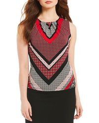 CALVIN KLEIN 205W39NYC - Petites Mitered Geometric Stripe Print Matte Jersey Pleat Neck Shell - Lyst