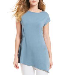 Eileen Fisher - Jewel Neck Cap Sleeve Asymmetrical Top - Lyst