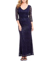 Marina 34-sleeve Sequin Lace Gown - Blue