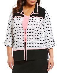 Ming Wang - Plus Size Lapel Neckline Colorblock Jacket - Lyst